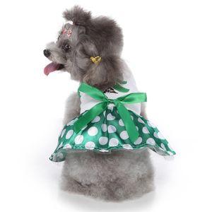 عيد الميلاد تأثيري كلب ثوب أحمر أخضر البوليستر الملابس حزب بلطف حلي المتوسطة الصغيرة الكلاب الجراء القوس عقدة Dress-