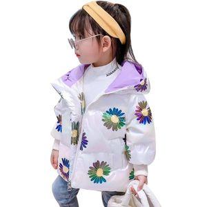 OLEKID 2020 Осени Зима Девочки пуховик с капюшоном Толстой Блестящей Daisy Девушки Верхней одежды пальто 1-8 лет Дети малышей ветровка