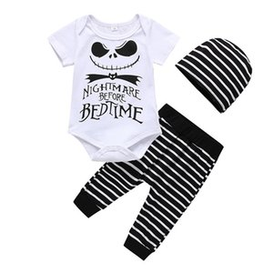 Boys Girls Rompers Clothes Outfits 3pcs Infant Newborn Baby Boy Girl Halloween Romper Letter Printing Jumpsuit