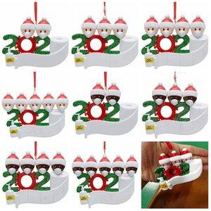 2020 Карантин рождественские украшения рождественской елки кулон Висячие украшения ПВХ семьи из 2 3 4 5 Санта-Клауса с маской Xmas орнамент CYZ
