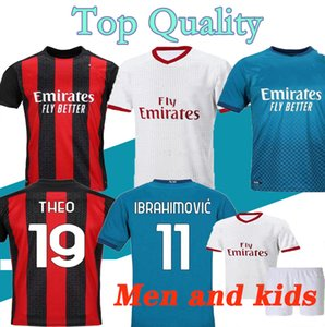 2021 AC soccer jerseys 20 21 Milan IBRAHIMOVIC BRAHIM TONALI THEO BENNACER REBIC LEAO ROMAGNOLI football jersey shirts Men kids Kit uniforms
