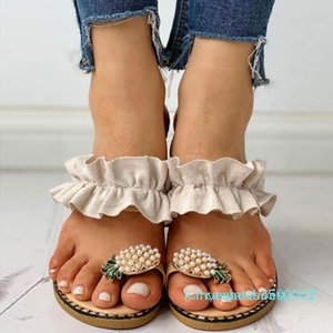 Women Summer Flat Sandals Pearl Spilt Toe slip on Flip Flops Pineapple summer Beach Slides Casual Shoes House Slippers 2020 k02