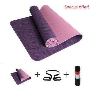 6mm antideslizante Yoga Mat 183 * 61cm TPE gimnasia de los deportes estera de la aptitud de Pilates Esterilla gimnasia camping Colchonete cojín con el bolso vendaje