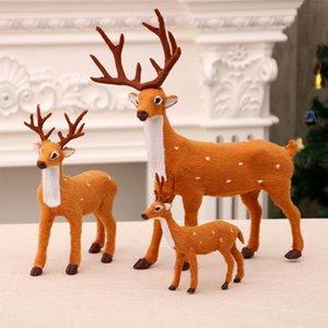 Рождество Мило Sika Deer кукла украшение плюш Elk имитационная модель животных Standing игрушка Поделка для дома Нового года украшения