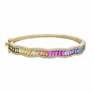 moda arco-íris de luxo pulseira ondulação Design set moldura baguette única cúbicos zircônia moda linda senhora jóias finas