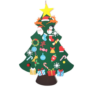 OOTDTY DIY Felt Christmas Tree Decoration Wall Hanging Ornaments Kids New Year Gifts Handmade Holiday Party Decor