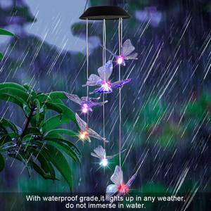 2V Solar Intelligent Light Control Design and Butterfly Wind Chime Decoration Pendant 6 F5 Lamp Beads Black Solar Panel Colorful Light