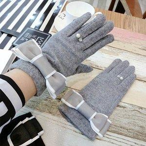 1 Pair Women TouchScreen Gloves Winter Warm Soft Full Finger Bowtie Mittens Best Sale-WT