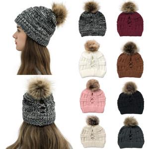 여성 폼은 폼은 비니 여성 겨울 분리 공 니트 해골 스키 모자를 따뜻하게 비니 모자 야외 포니 테일 골 건너 LJJA4172