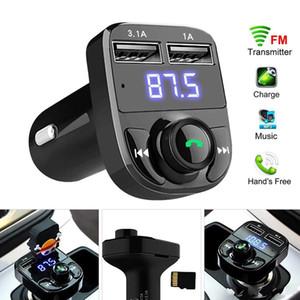 FM X8 송신기 변조기 자동차 블루투스 오디오 재생, 빠른 듀얼 USB 차 충전기를 충전 3.1A와 핸즈프리 전화, MP3 재생,