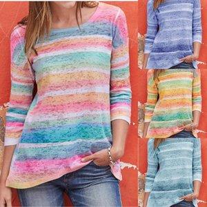 Sonbahar Baskı Çok Renkli Uzun Kollu Mürettebat Boyun Tees 2020 Kadın Lüks Tasarımcı Tshirts Spring Tops