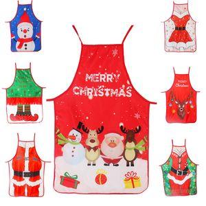 الكبار عيد الميلاد ساحة سانتا سيدة مطبوعة كارتون لطيف الطبخ أدوات المريلة عيد الميلاد الديكور الدعائم للمطبخ هدية عيد الميلاد YYB1911