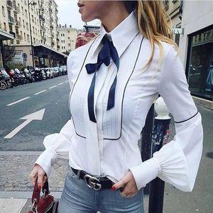 2020 Spring Womens Tops and Blouses Vintage White Bow O Neck Long Sleeve Shirt Fashion Office Lady Clothing Camisa Feminina