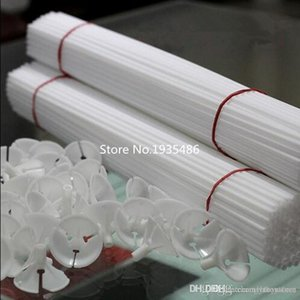 httoy Free shipping 50 Sets  lot cartoon latex Balloon Stick Pole 40cm white plastic Sticks Wedding balloon decoration accessories