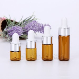 Silver Cap White Rubber Top 1ml 2ml 3ml 5ml Essential Oil Bottles Amber Glass Dropper Bottle Vials with Pipette WB2648