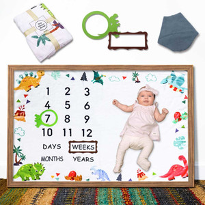 Dinosaur Baby Monthly Milestone Blanket for Baby Boy and Girl Newborn Shower Photography Prop Includes Bandana Drool Bib Frames