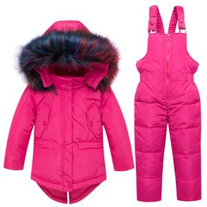 Winter Kids Snowsuit Jackets Hoodies Duck Down Ski Suit For Girls Snow Suit Outfits Snow Wear Jumpsuit Sets Coat Snowsuit 0927