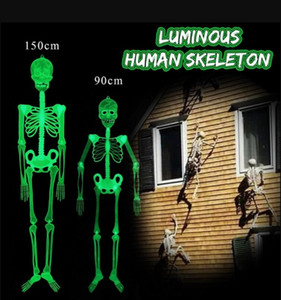 Halloween Prop Luminous Human Skeleton Hanging Decoration Outdoor Party Decor150cm 90cm  30 2D