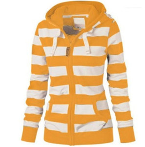 Zipper Hoodies Striped Print Long Sleeve Hooded Ladies Sweatshirts Fashion Contrast Color Slim Female Clothing Womens Designer