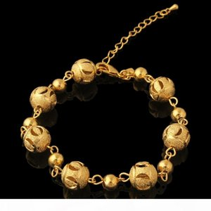 H Women &#039 ;S Jewellery 18k 18ct Yellow Gold Gf Round Bead Beaded Bracelet 7 .8 Inch Adjustable Extension Chain
