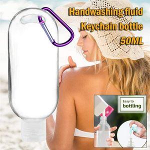 5Pcs 8Pcs 10Pcs Lot 50ml Empty Refillable Bottle With Key Ring Travel Transparent Plastic Perfume My Small Bottle Keychain