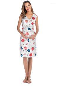 Summer Dresses Nursing Maternity Dress 2020 V Neck Floral Print Fashion Casual Clothing Female Apparel Womens
