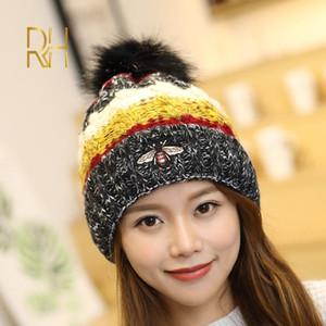 Çocuklar Kadın Beanies Designer Bonnet RH için Kadın Kış kasketleri Şapka Kalın Örme Beanie Hat Kız Kış Pom