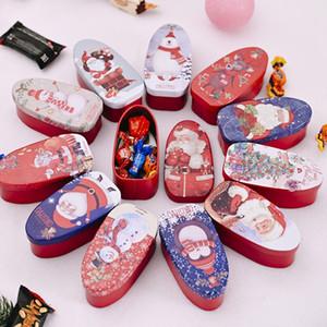 10PCS colore casuale creativi Decorazioni di Natale Carino Mini rettangolare latta Candy Jars Varietà di caramella di immagazzinaggio Tin Box