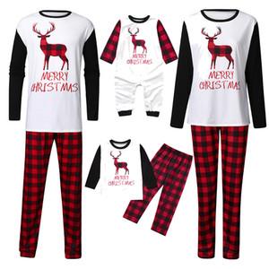 Navidad de la familia pijamas de Elk otoño Imprimir Hombres Mujeres padres e hijos la ropa de noche de manga larga cálidos juegos de los pijamas Inicio DWE1570