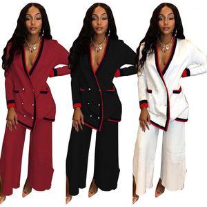 2pcs Costumes Blazers Pantalons Survêtements Tops Costumes breasted simple Mode féminine Pantalons