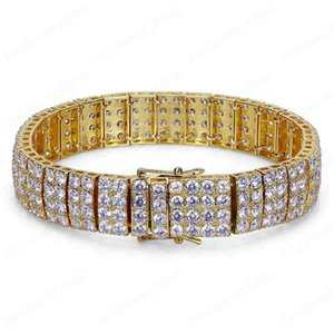 Men Bracelet Link Chain Yellow White Gold Plated Iced Out CZ 4 Layeres Tennis Bracelet for Men Hip Hop Bracelet Chain
