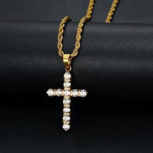 Anhänger Halsketten Hip Hop Klaue Einstellung CZ Stein Bling Out Gold Silber Farbe Edelstahl Kreuz Anhänger Halskette Für Männer Frauen Schmuck