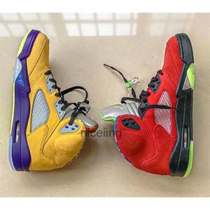 SnakeaskinJordánRetro 5 ¿El Mid aj 5 baloncesto para hombre Zapatos cestas 5s Lo que el pato de mandarín de las zapatillas de deporte de color amarillo rojo CZ5725-700