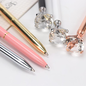 1PC Big Diamond Crystal Pen Gem Ballpoint Pens Ring Wedding Metal BallPen Kawaii Magical Pen Fashion School Office Supplies