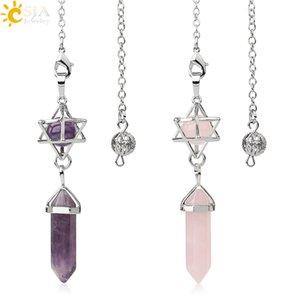 CSJA piedra natural péndulos para la curación de cristal Radiestesia adivinación Prisma hexagonal bola redonda Merkaba energía espiritual G517 joyería de moda