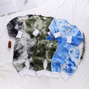 Baby Designer Clothes Tie Dyeing Toddler Boy Tops Pants 2pcs Sets Long Sleeve Children Girl Outfits Boutique Baby Clothing 3 Colors DW5934