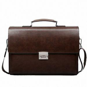 Business Man Bag Theftproof Lock PU Leather Briefcase For Man Pure Bank Mens Briefcase Bag Dress Handbag q6N4#