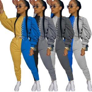 Mujeres chándal con capucha con cordón delantero del remiendo de la manga larga Sudaderas Pantalones de las polainas dos pedazos fijados Trajes Sweat D91503 Traje