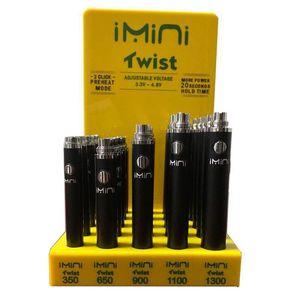 510 Gewinde Imini Twist Batteriespannung einstellbar Vape Feder 24pcs / lot 25pcs / lot 350 650 900 1100 E-Zigarette 1300mAh Akku