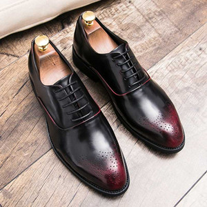 2020 Oxford leather formal shoes men Brogue dress shoes Derby round top size 38-45 lace up rubber outsole casual business social