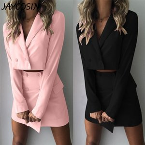 JAYCOSIN Women Suits Solid V Neck Slim Navel Lapel Button Short Jacket High Waist Mini Skirt 2 Piece Set Temperament Blazer Suit 200919