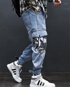 Cargohose mit Taschen Hiphop Light Blue Jeans Männer loser Art und Weise lange Mens