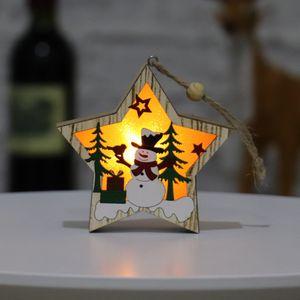 Wooden Luminous Pendants Wooden Star Round Frame Lamp Luminous Christmas Tree Ornament Hanging Pendant Ornaments Party Decoration OWB2725