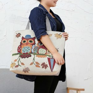Big Pink Cartoon Owl Printed Shoulder Bag Women Mother Large Female Shopping Bag Canvas Handbag Summer Beach Bag Ladies
