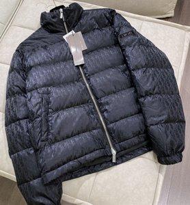 브랜드 남성 편지 나일론 다운 재킷 디자이너 남성 겨울 스트립 지퍼 후드 착실히 보내다 패션 신사 칼라 코트 스탠드 따뜻하게