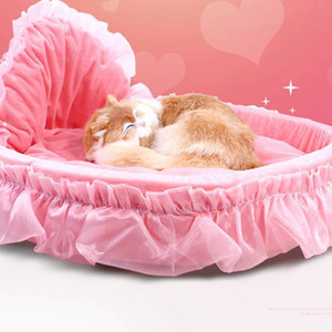 Girl Dog Bed Round Pet Lounger Cushion For Small Medium Dogs Cats Cute Princess Mat Warm Pet Bed KKA8076