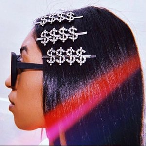 Fashion Women Letter Crystal Hairpin Dollar Hairpin Fashion Rhinestone Pin Rhinrstone Barrettes Bling Hair Clip for Gift Party
