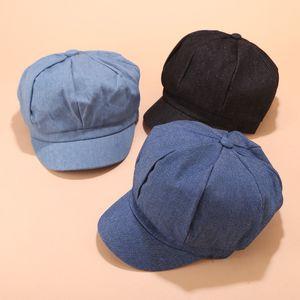 Las mujeres boina Otoño Invierno octagonales Gorra de estilo Artista Pintor Newsboy casquillos negros grises Beret Sombreros