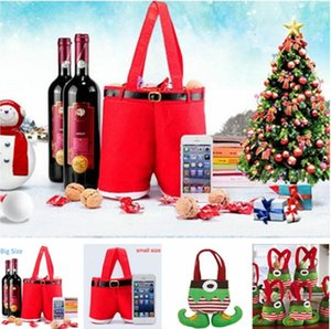Santa Pants Christmas Candy Bags Wine Stocking Bottle Gift Bag Xmas Decoration Party Decoration Kids Gift Cookies Candy Packagin