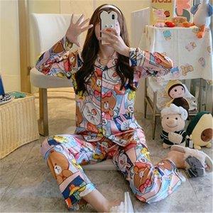 2020 Lovers Pajamas Couples Unisex Silk Flower Printed Sleepwear Soft Pyjama Sets Women Pajama Sets Long Sleeve Men Lounge Pijamas#143